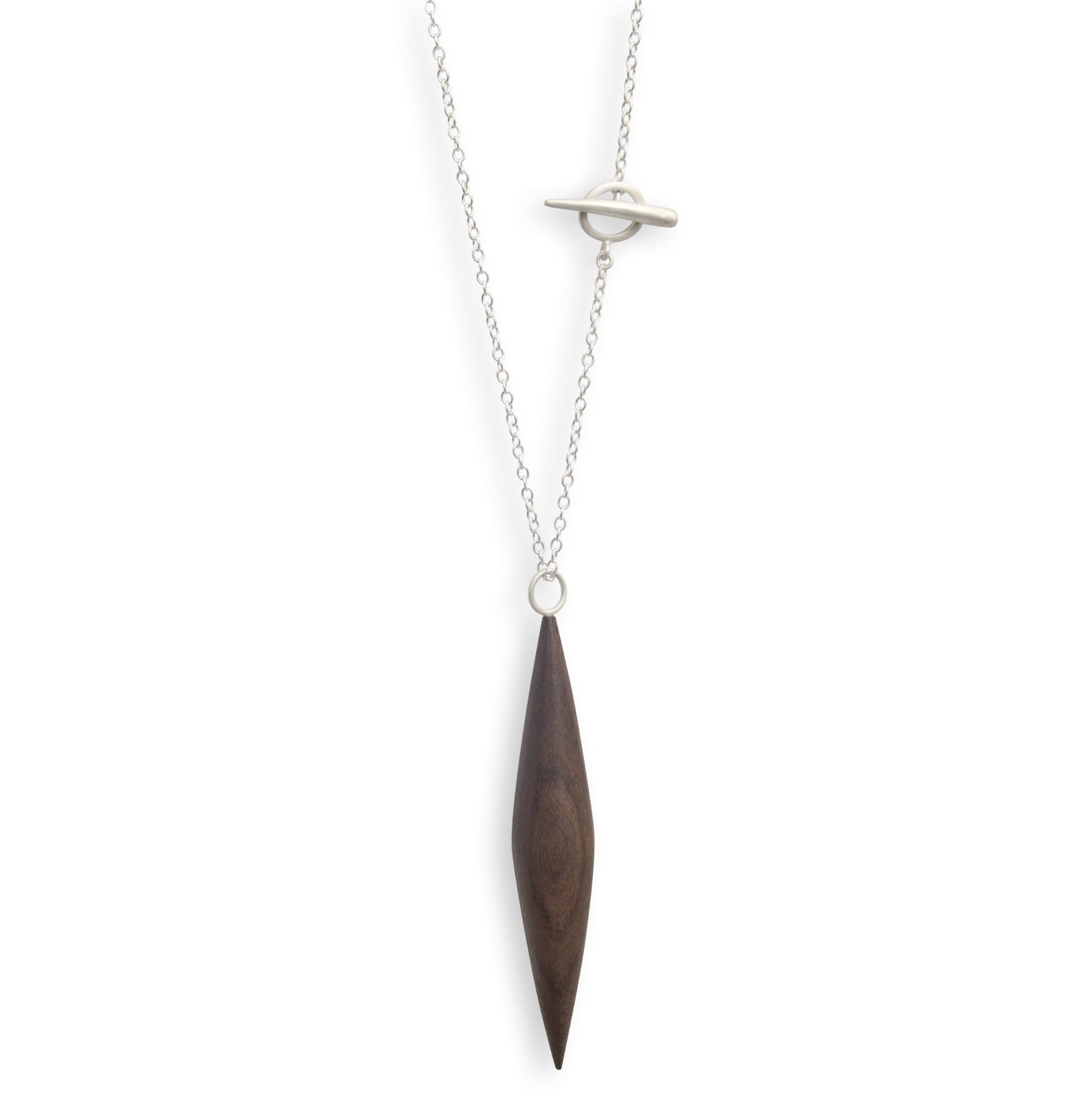 rosewood/sterling silver wood ficelle necklace