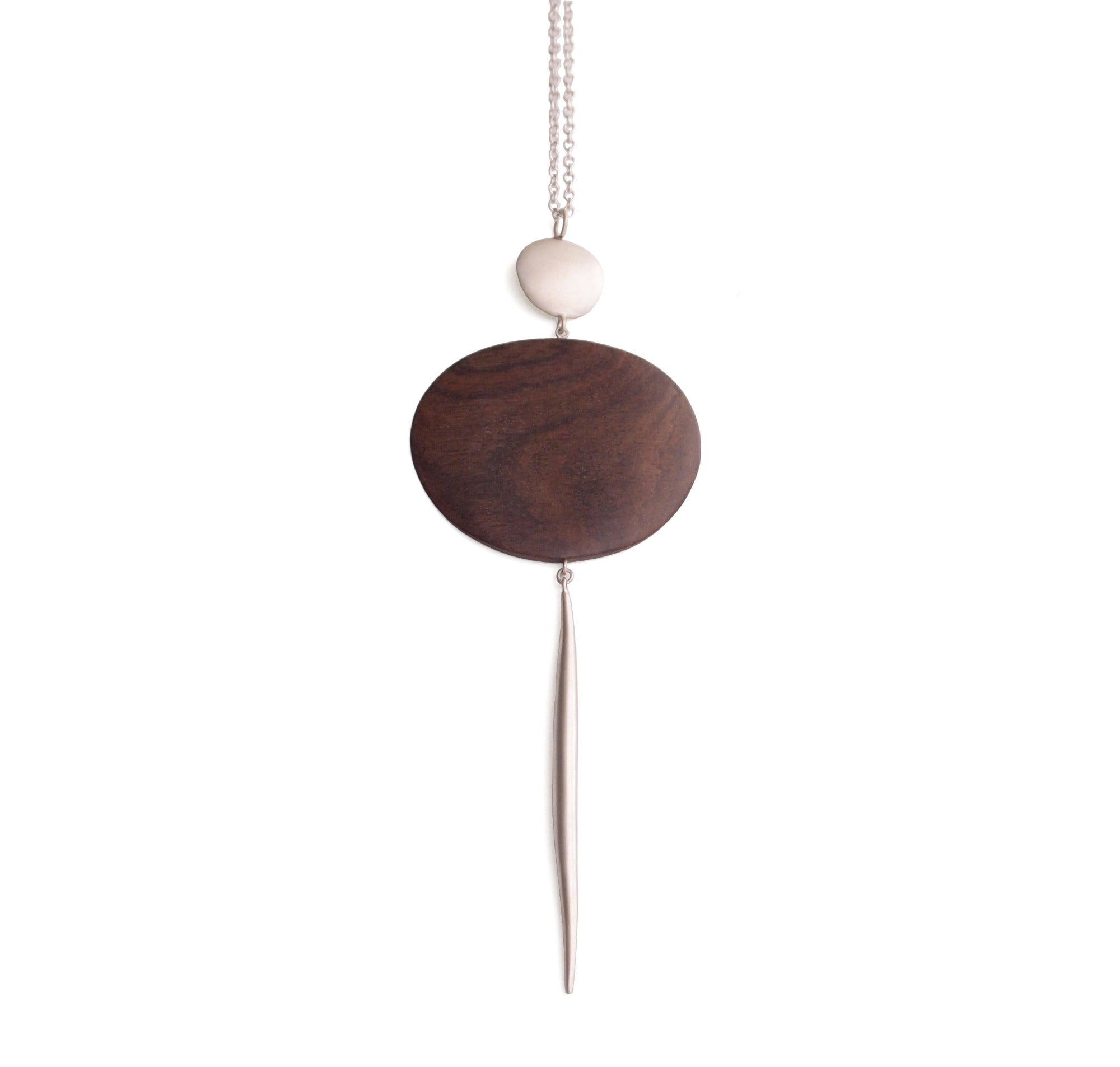 wood oval and point pendant