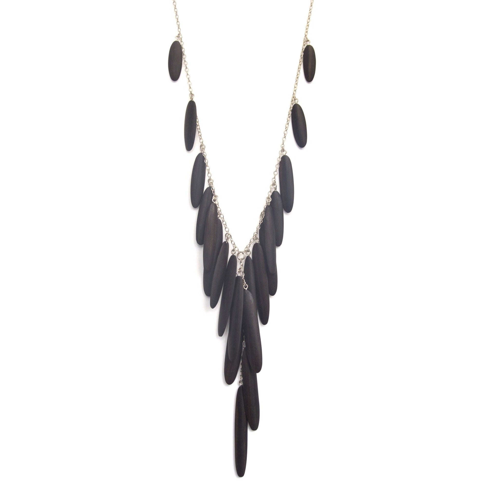 ebony/sterling silver oval wood cascade necklace
