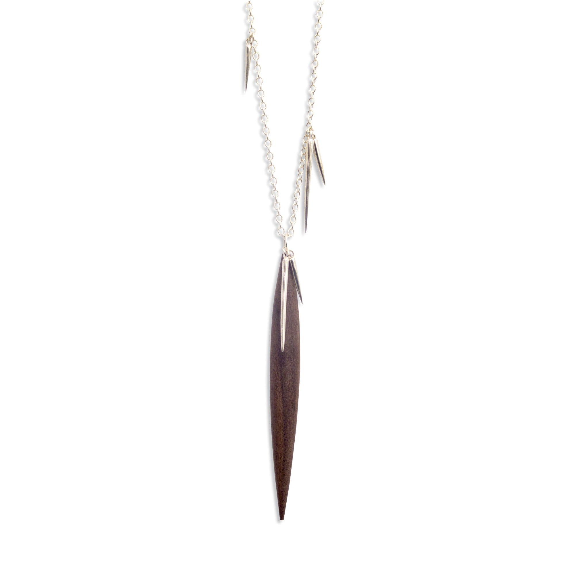 rosewood/silver wood point scatter necklace