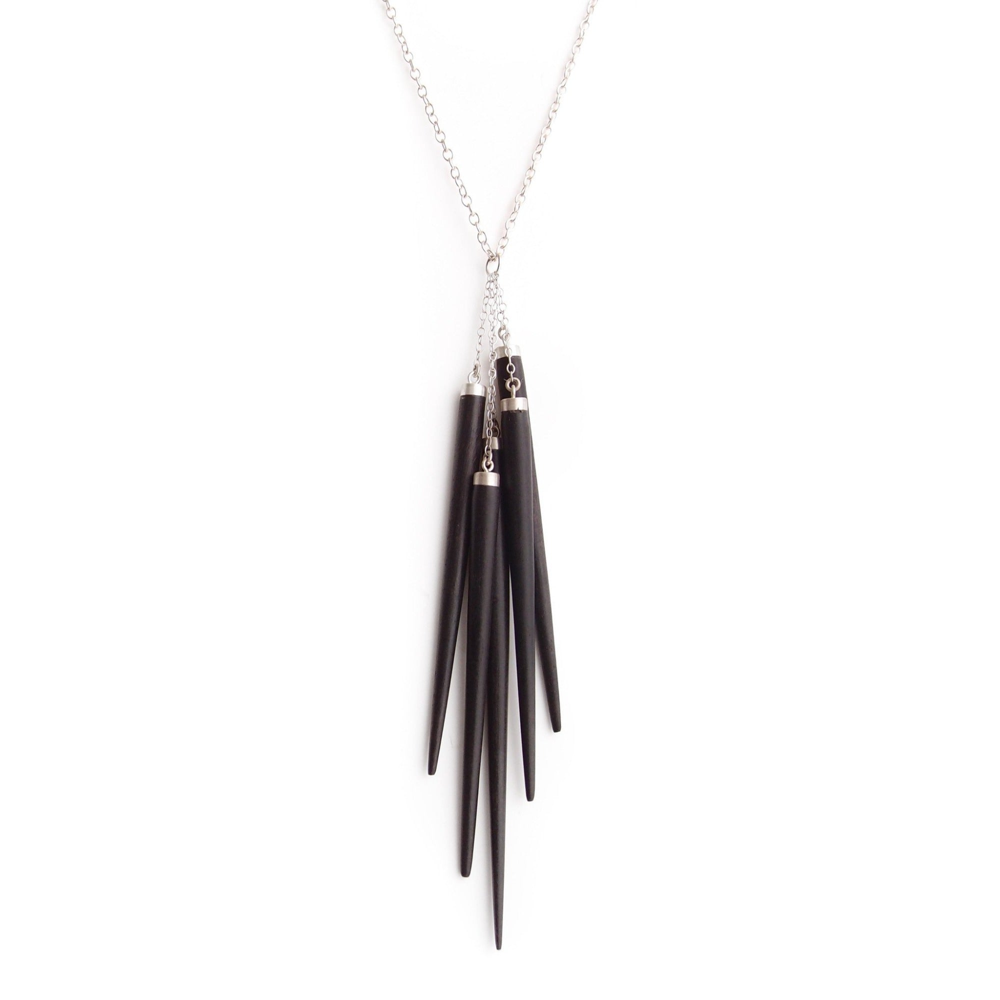 ebony/sterling silver wood point cluster necklace
