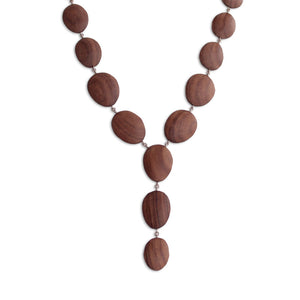 rosewood/sterling silver oval wood totem necklace