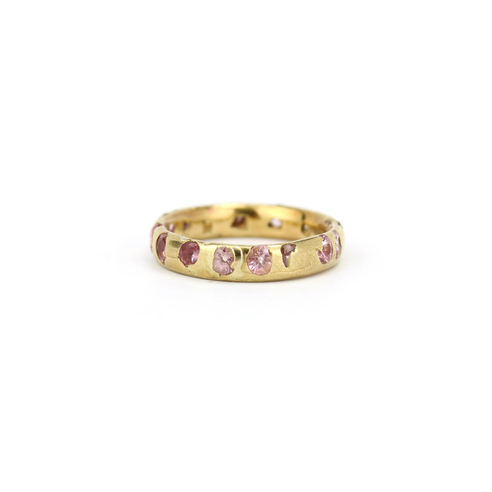 18k yellow gold with pink sapphires confetti ring with pink sapphires (narrow), polly wales