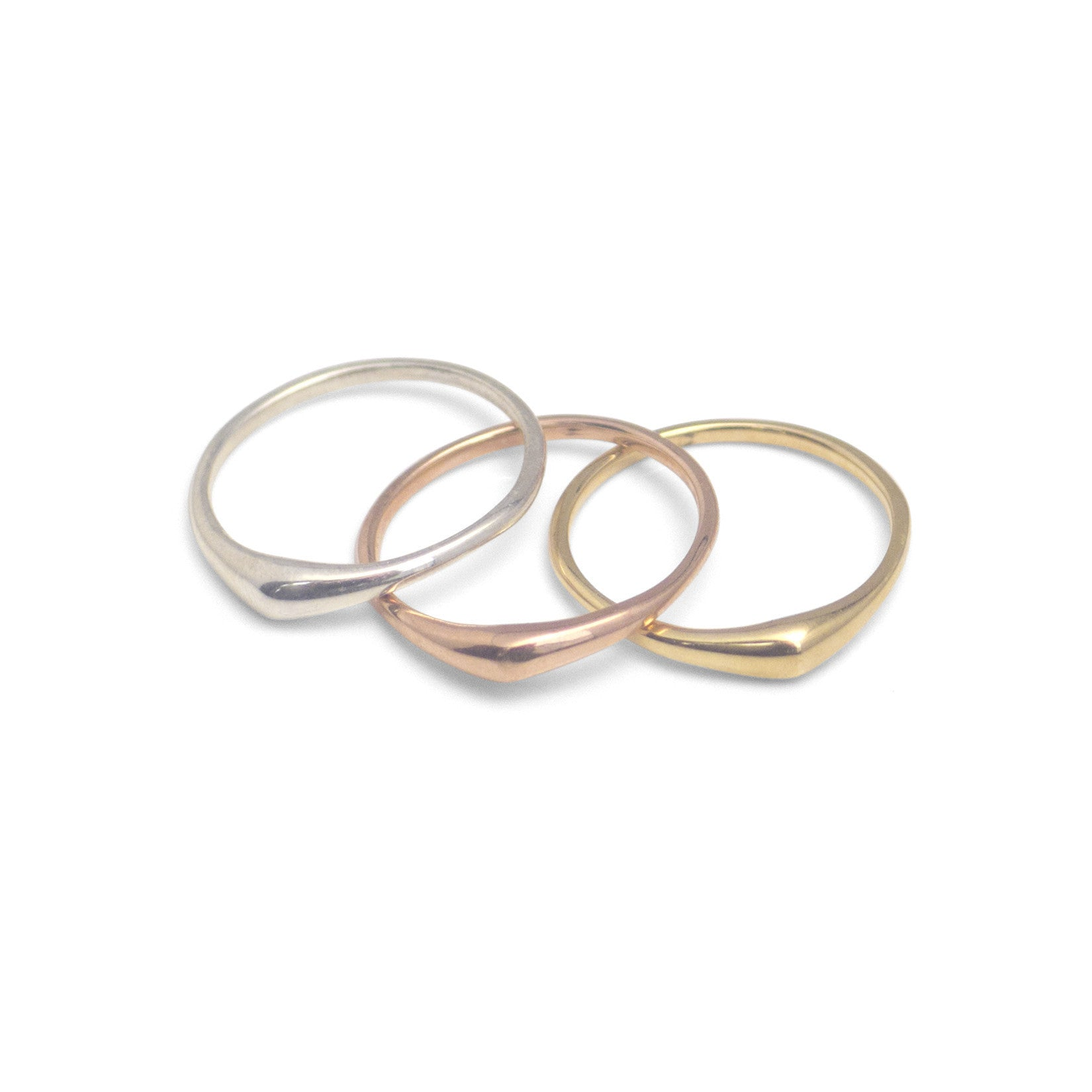 set of three in sterling silver, 14k yellow gold and 14k rose gold / matte / 5 swell stacking rings