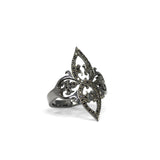 black diamonds in sterling silver plated black rhodium / 5 arabesque cocktail ring