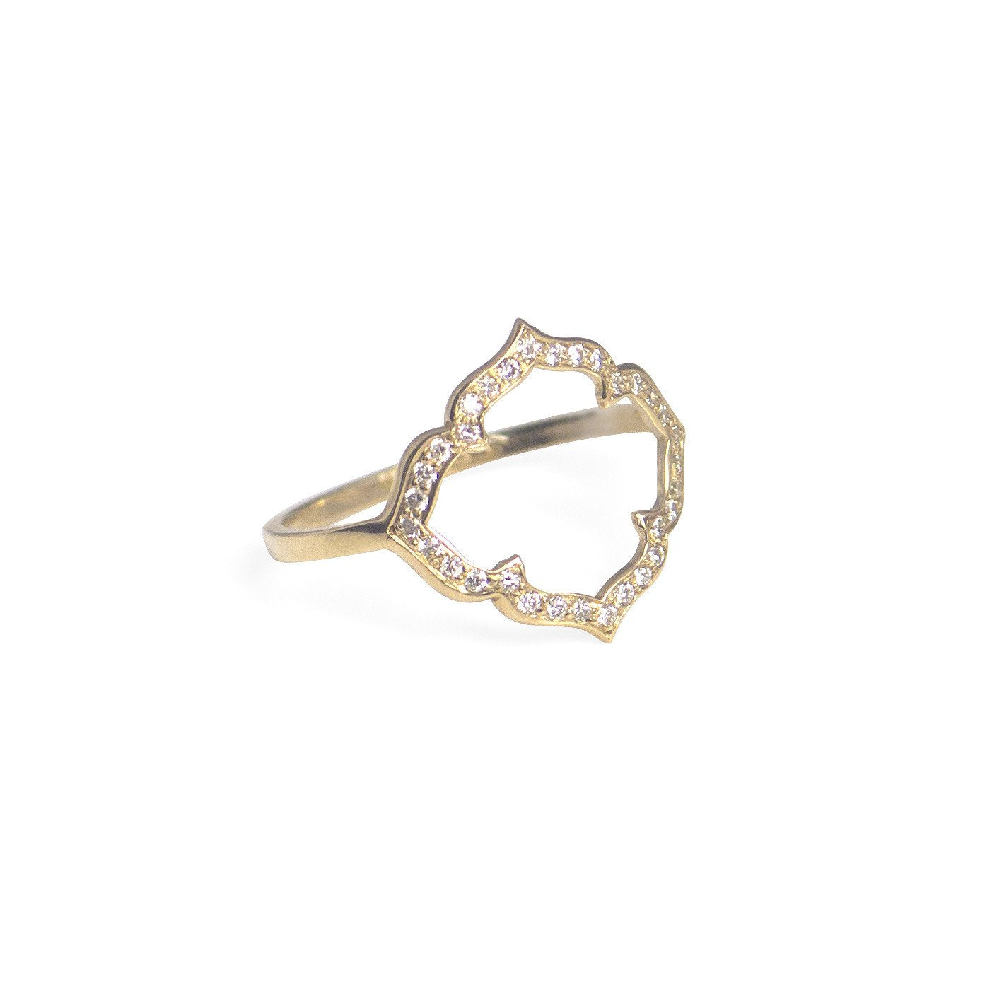 14k yellow gold with white pave diamonds / 5 clover ring