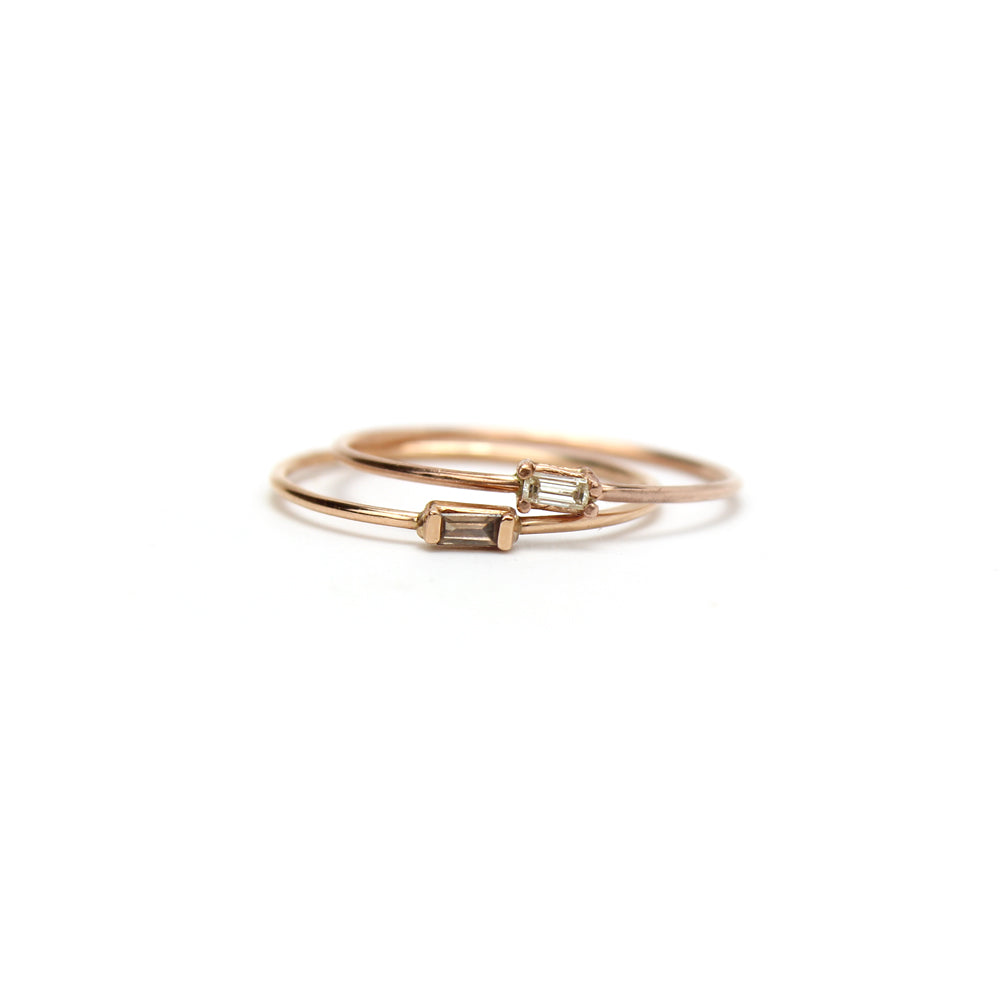 14k rose gold with white diamond / 7 small baguette diamond ring