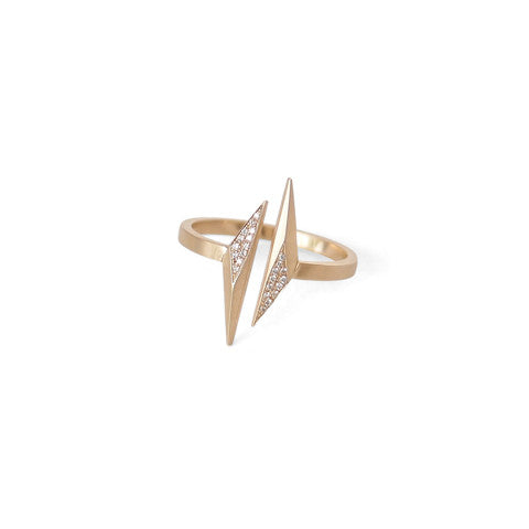 14k yellow gold/white pave diamonds / 5 open shard ring
