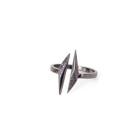 14k white gold plated in black rhodium/black pave diamonds / 5 open shard ring