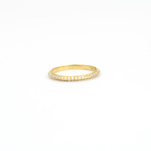 14k yellow gold with white diamonds knife edge diamond band