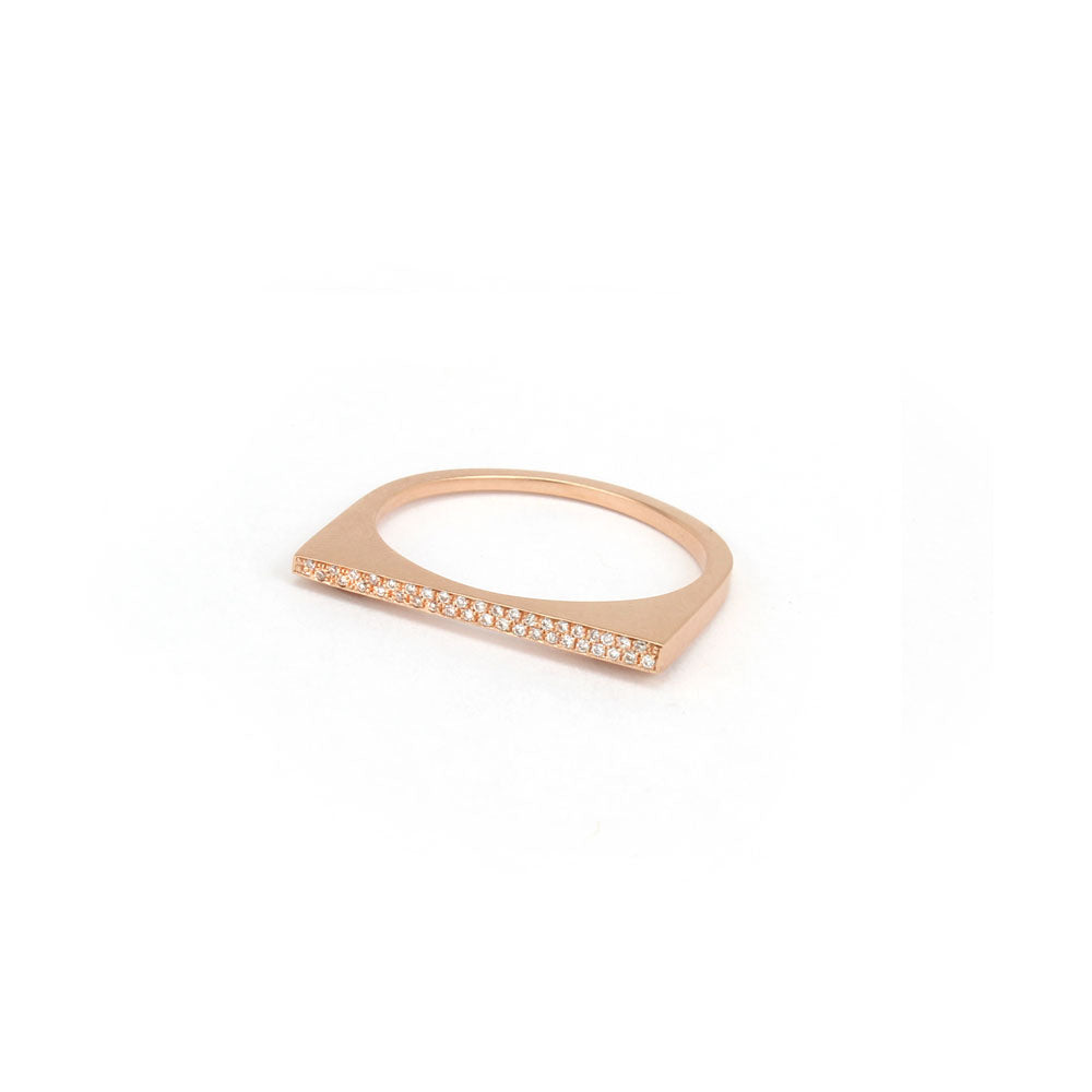 14k rose gold with white diamonds / 6.75 / tapered pavé shard stacking rings