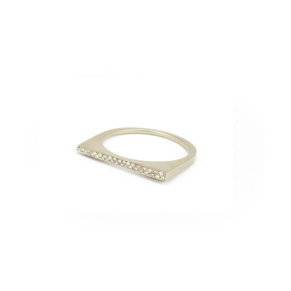 14k white gold with white diamonds / 6.75 / tapered pavé shard stacking rings