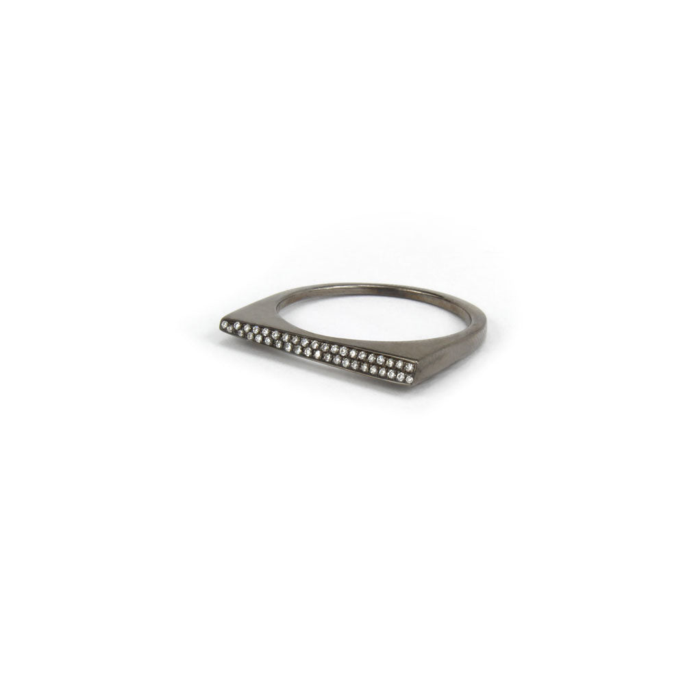 black rhodium over 14k white gold with white diamonds / 6.75 / beveled pavé shard stacking rings