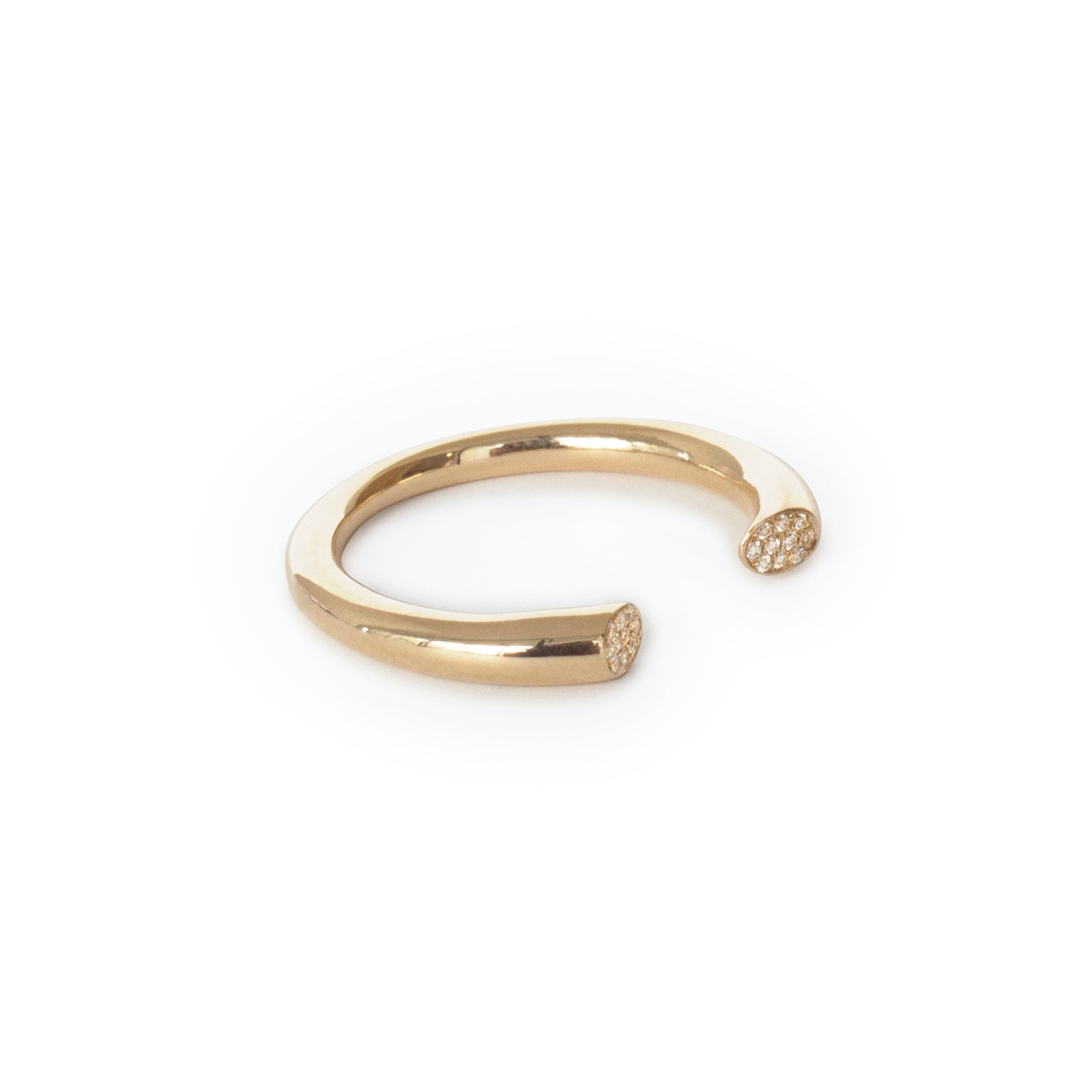14k yellow gold w/white diamonds / thick / 6 arpent stacking rings with diamonds