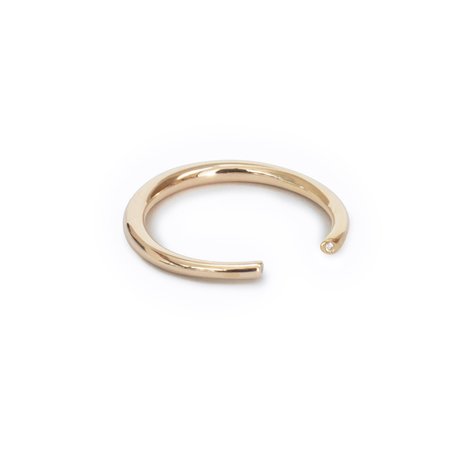 14k yellow gold w/white diamonds / thin / 6 arpent stacking rings with diamonds