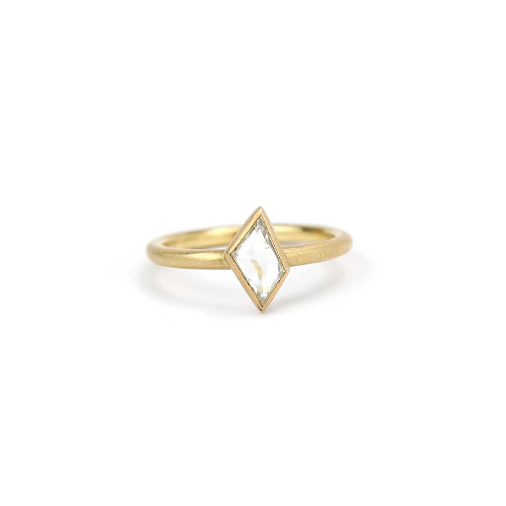 14k yellow gold with white diamond rose cut diamond ring, rebecca overmann