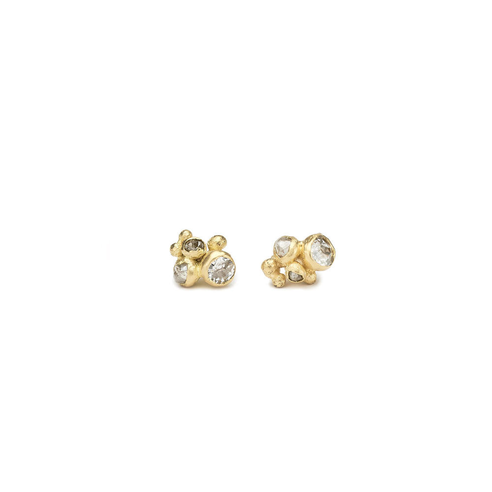 18k yellow gold with white and grey diamonds mixed diamond cluster studs, ruth tomlison