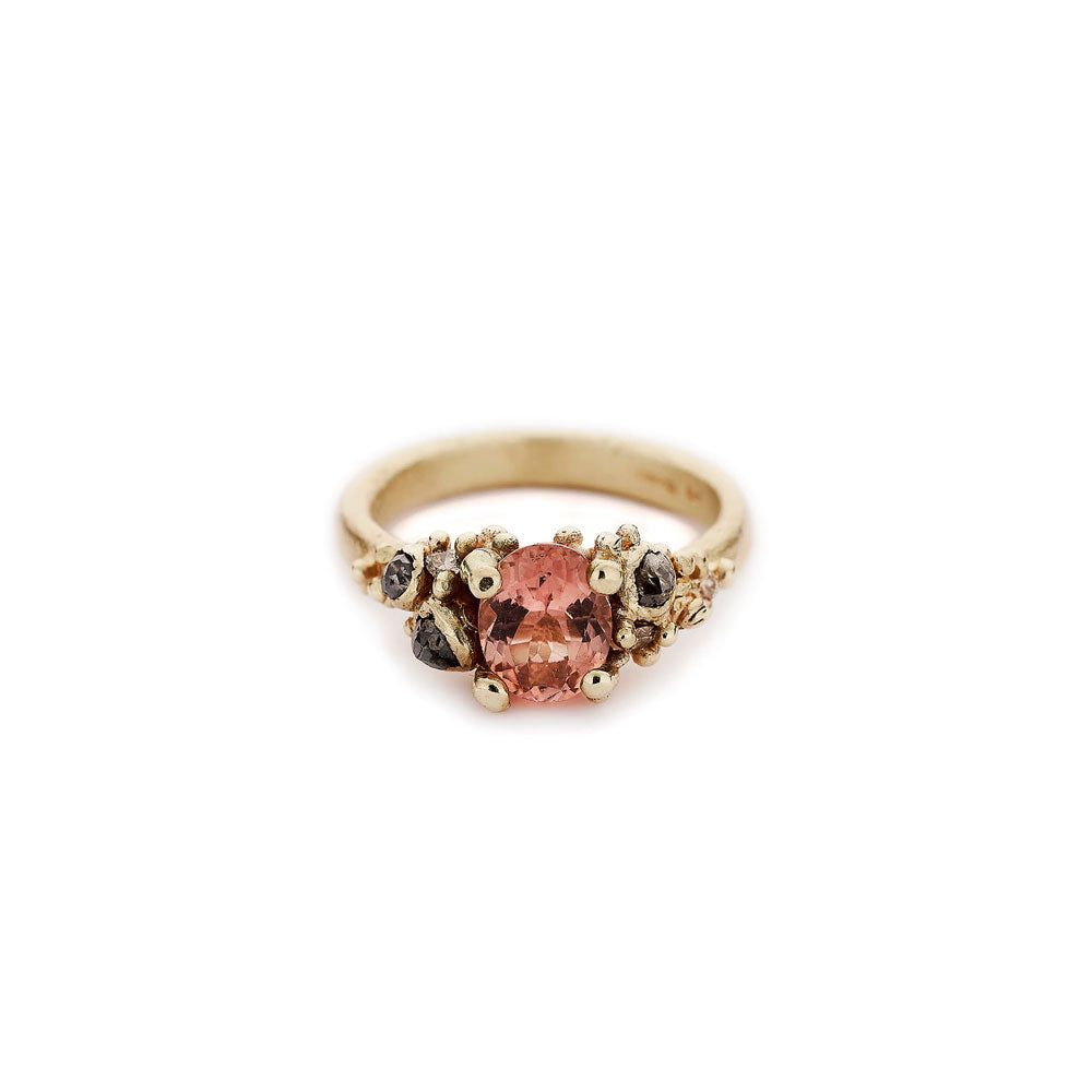 14k yellow gold with tourmaline, white, champagne and grey diamonds tourmaline and grey diamond ring, ruth tomlinson