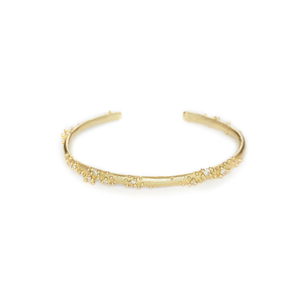 18k yellow gold with white diamonds diamond encrusted cuff, ruth tomlinson