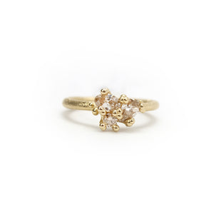 14k yellow gold with tourmaline, white, champagne and grey diamonds contrast cut diamond ring, ruth tomlinson