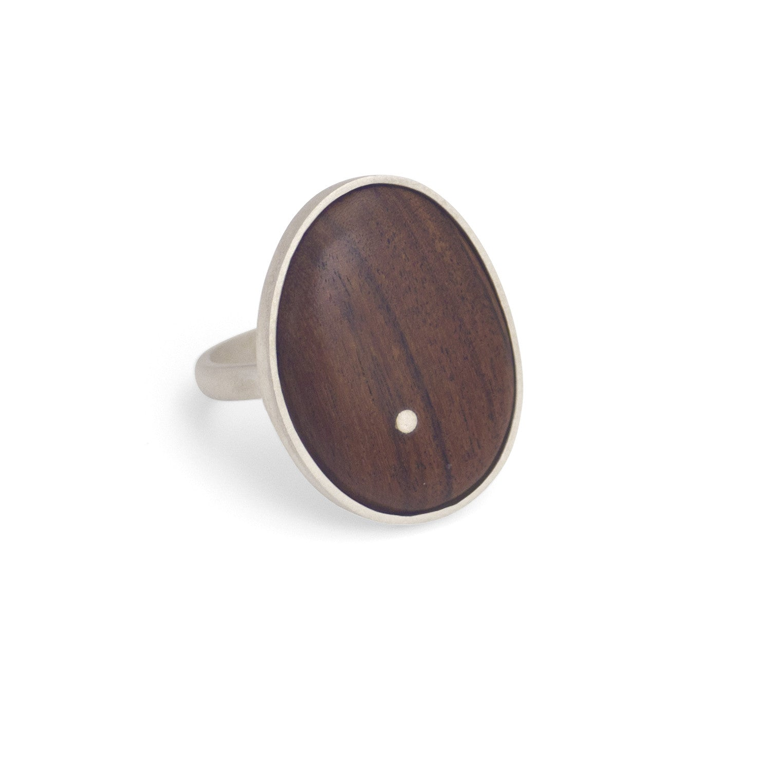 rosewood/sterling silver / 7 oval wood inlay ring