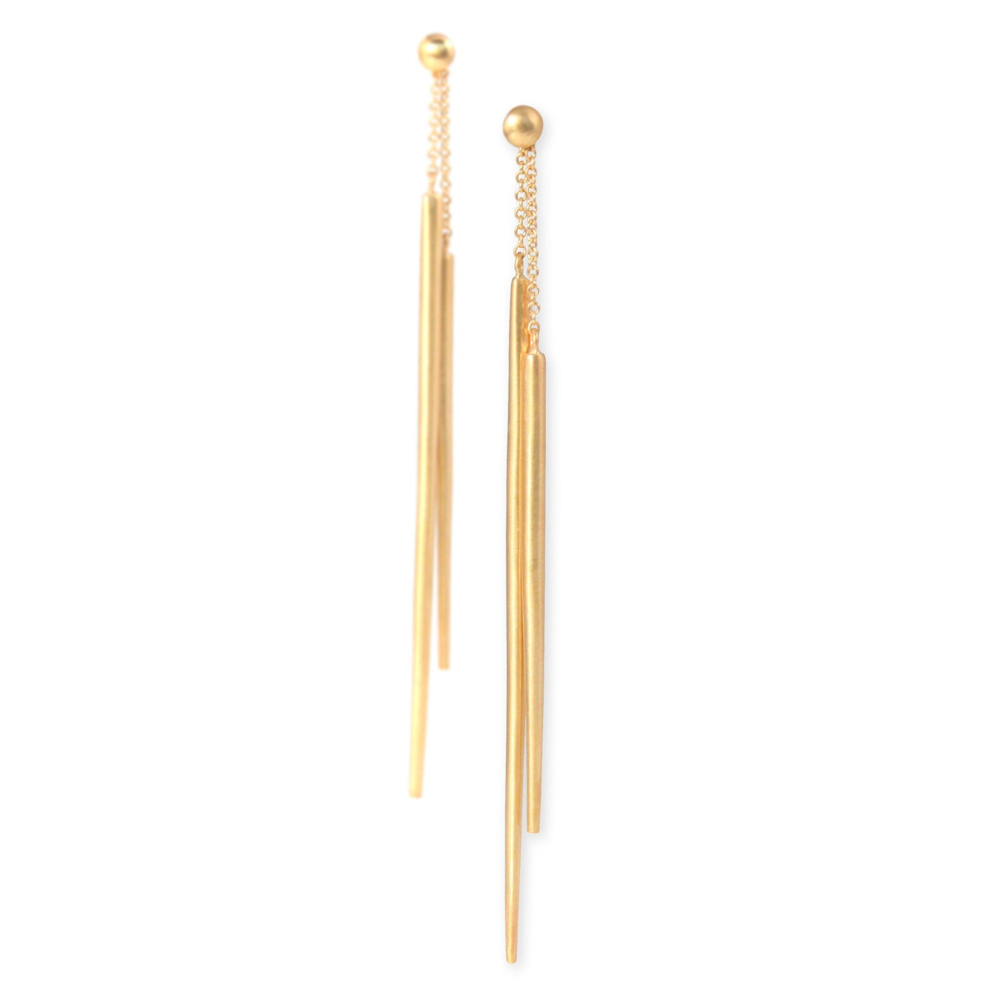 14k yellow gold spicula dangle earrings