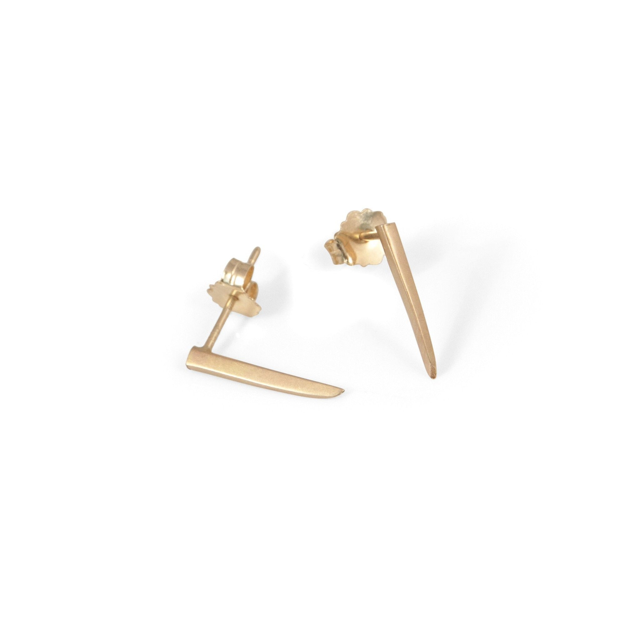 14k yellow gold tiny sliver studs
