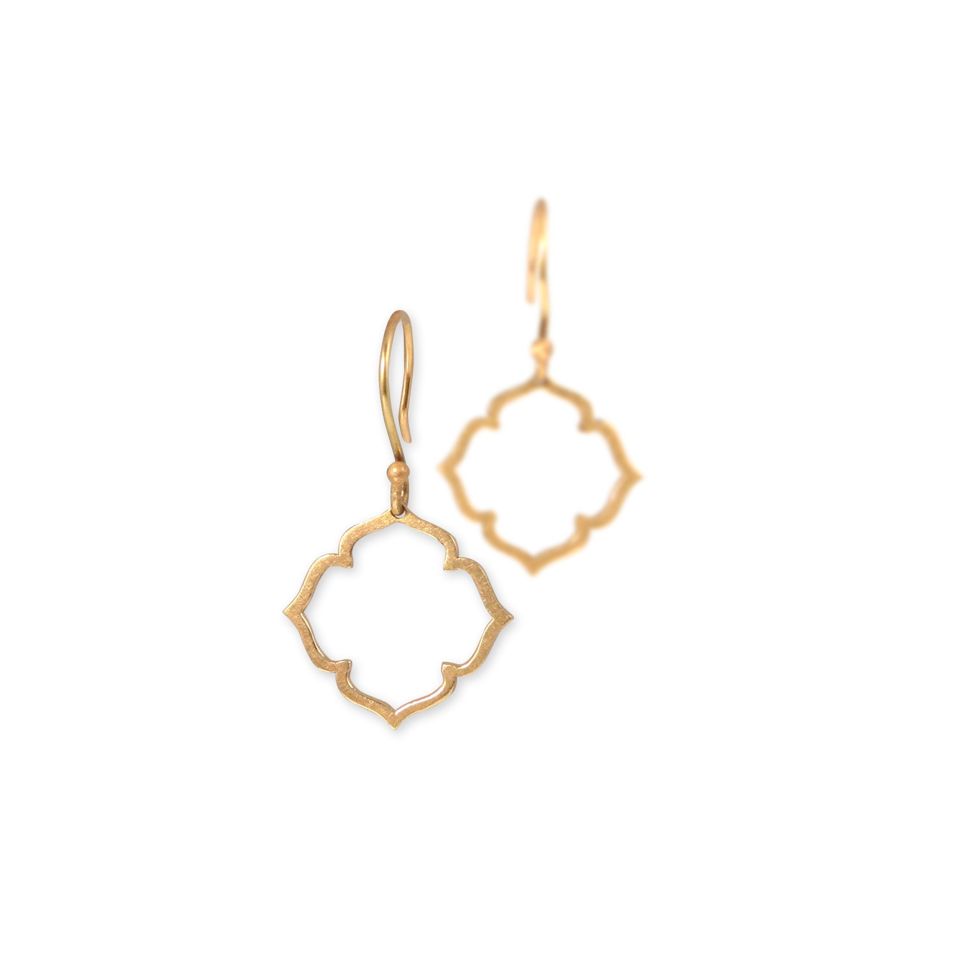 14k yellow gold small clover earrings