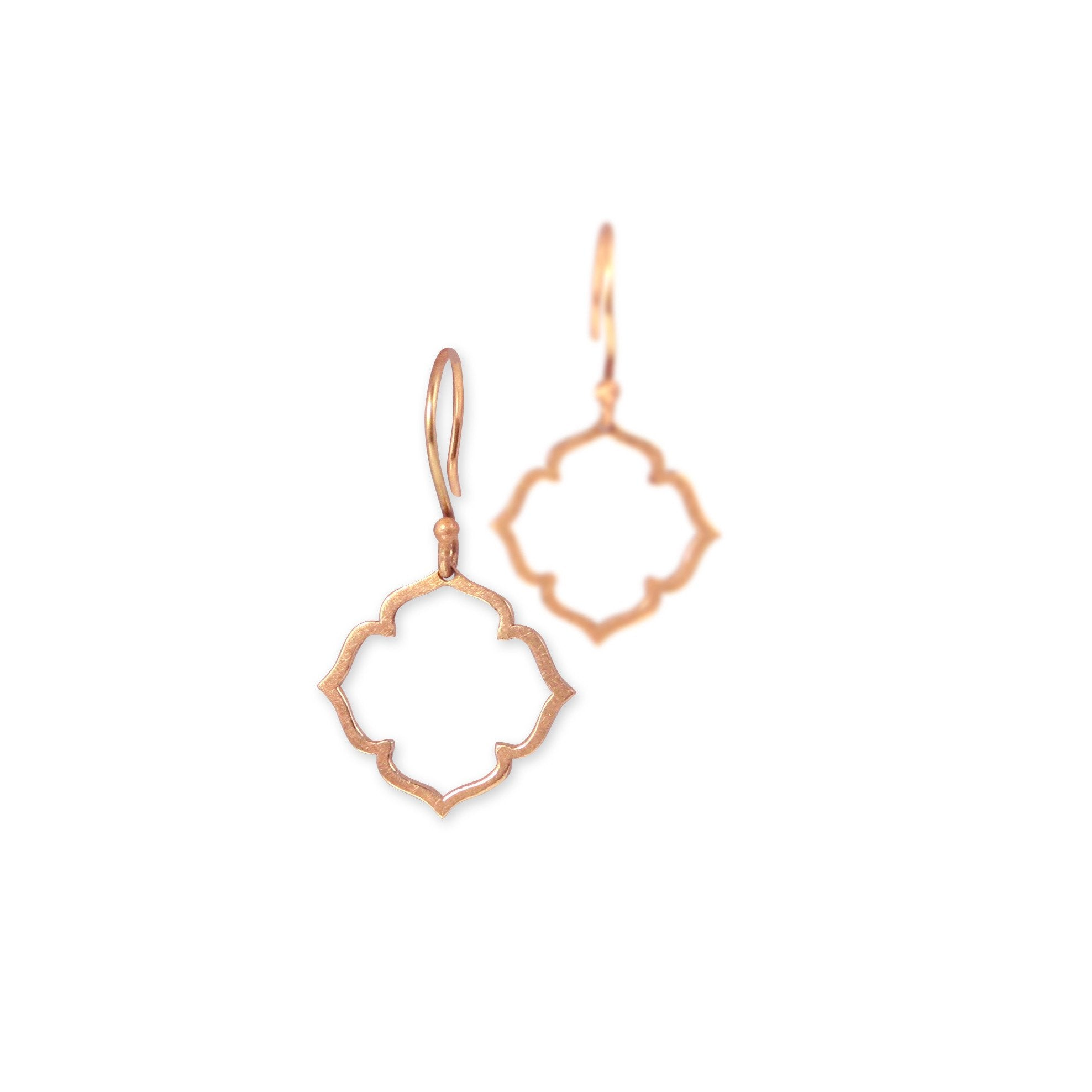14k rose gold small clover earrings