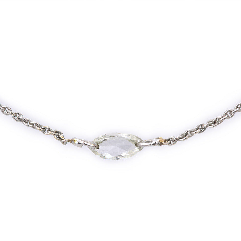 rosecut marquis diamond necklace
