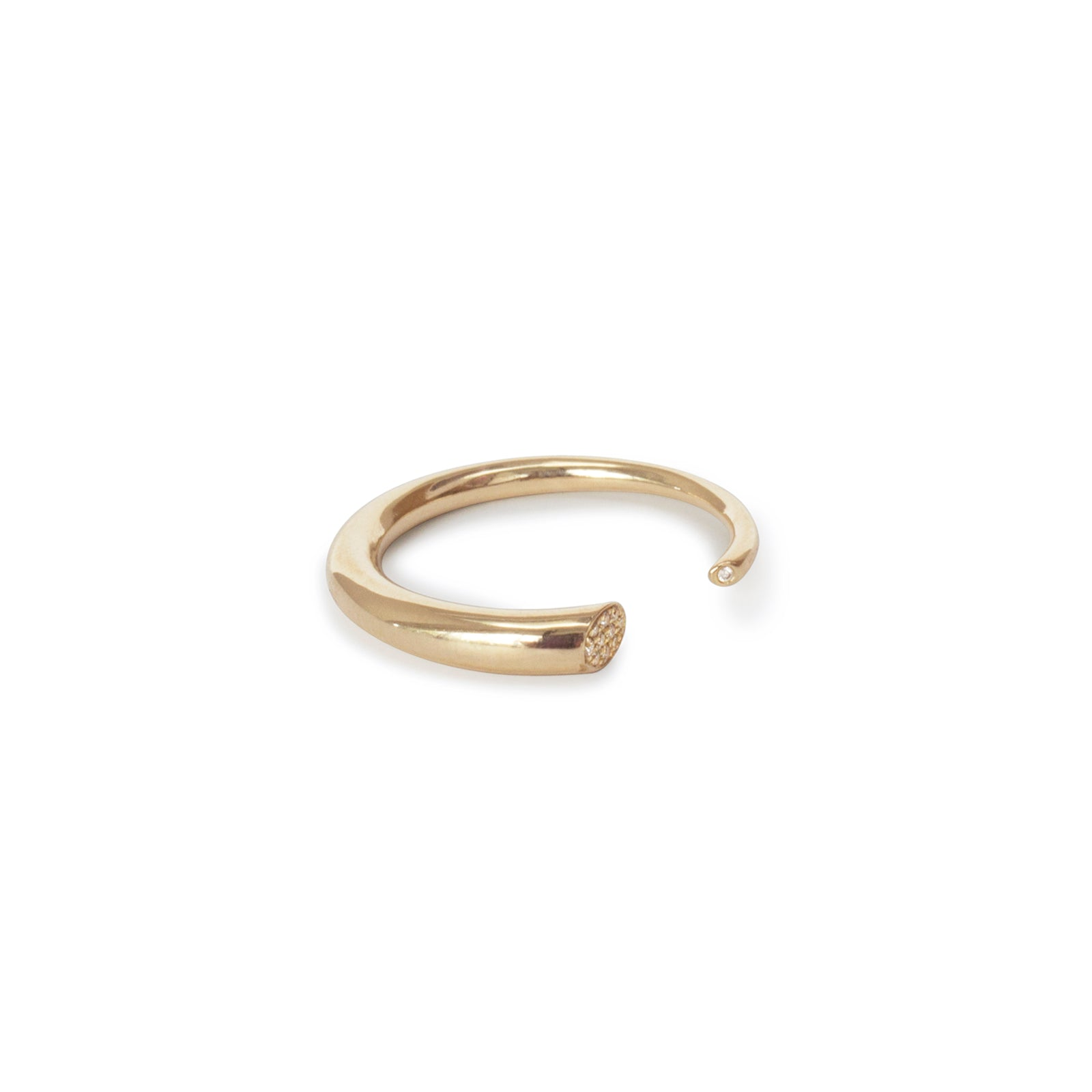 14k yellow gold w/white diamonds / tapered / 6 arpent stacking rings with diamonds