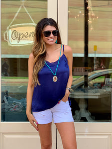 Navy Detail Tank - Regular/Plus Size