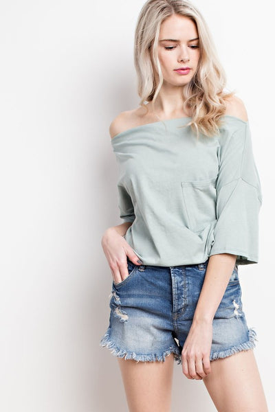 Off Shoulder Tee - Seafoam