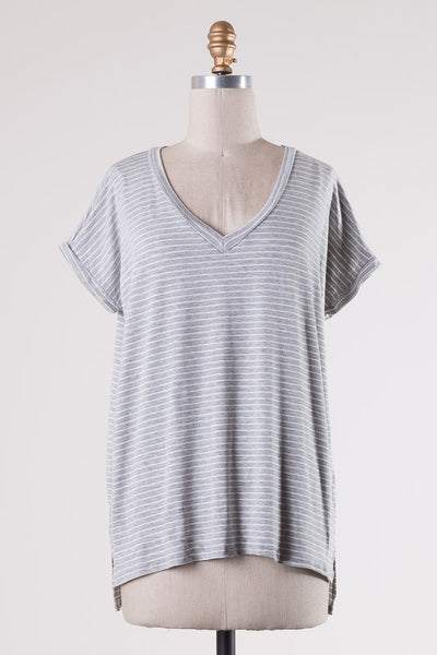 Brooklyn Tee - Gray Stripe