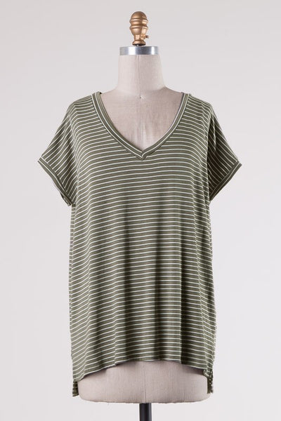 Brooklyn Tee - Olive Stripe