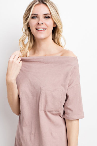 Off Shoulder Tee - Champagne