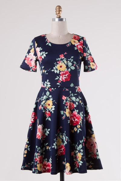 Spring Floral Shift Dress - Navy