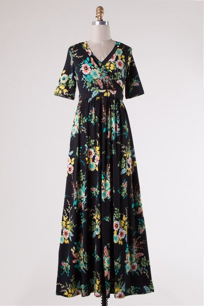 Lana Dress - Black Floral Maxi