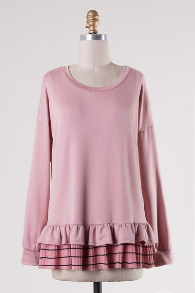 Pink Peplum Sweatshirt - Dusty Pink