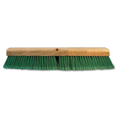 "Boardwalk Push Broom Head, 3"" Green Flagged Recycled PET Plastic, 18"""