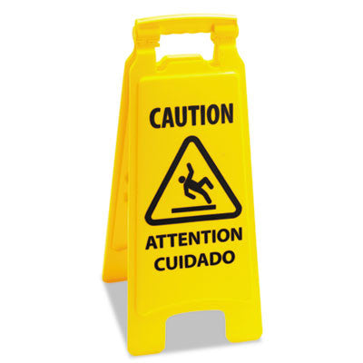 Boardwalk Caution Safety Sign For Wet Floors, 2-Sided, Plastic, 11x1-1/2x26, Yellow