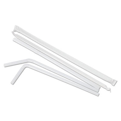 "Flexible Wrapped Straws, 7 3/4"", White, 400/Pack"