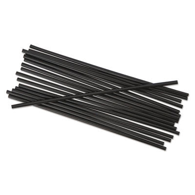 "Boardwalk Unwrapped Single-Tube Stir-Straws, 5 1/4"", Black, 1000/Pack"