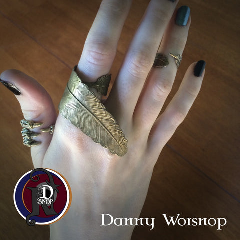 Call You My Own Brass Feather Ring  NTIO Ring Cuff by Danny Worsnop