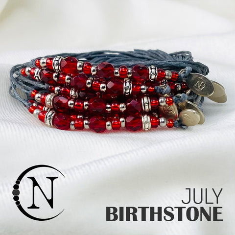 July Ruby NTIO Birthstone Bracelet