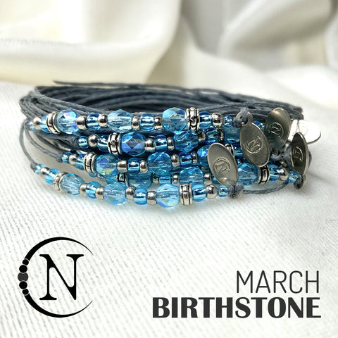 March Aquamarine NTIO Birthstone Bracelet