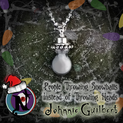 People Throwing Snowballs Glow-In-The-Dark NTIO Twisted Christmas Necklace by Johnnie Guilbert