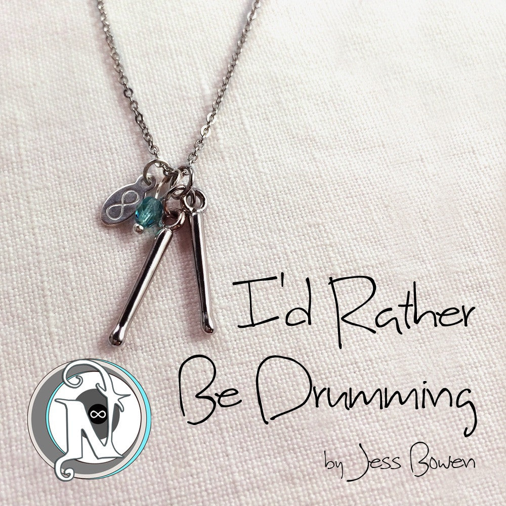 Necklace I'd Rather Be Drumming by Jess Bowen