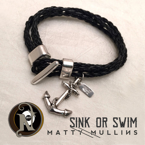 Leather Bracelet Sink or Swim by Matty Mullins