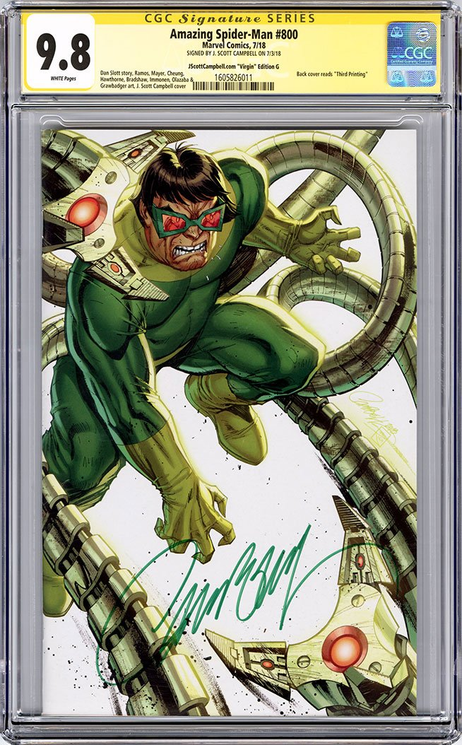 CGC 9.8 SS Amazing-Spider Man #800 'virgin' cover G J. Scott Campbell